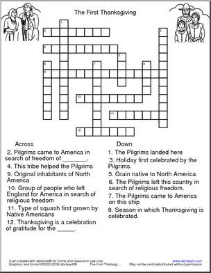 Crossword The First Thanksgiving Abcteach First Thanksgiving Senior Activities First Aid For Kids