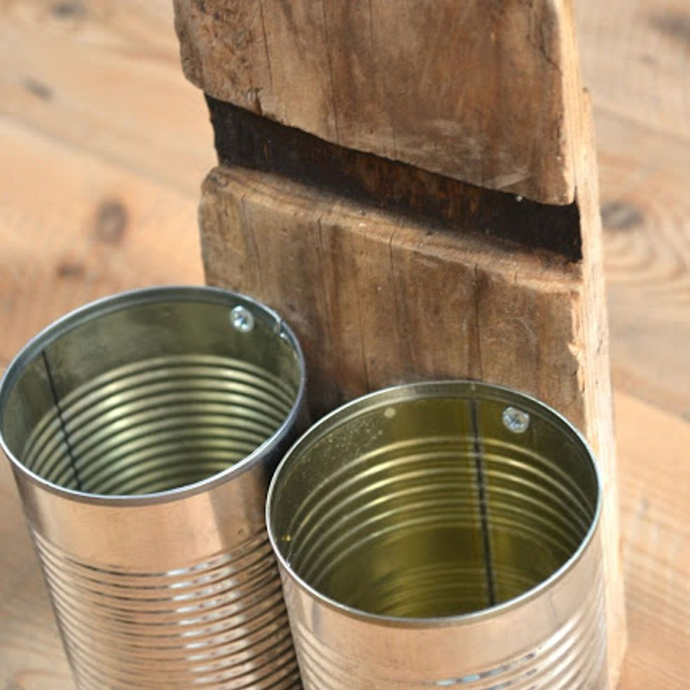 Recycled Tin Can Organizer