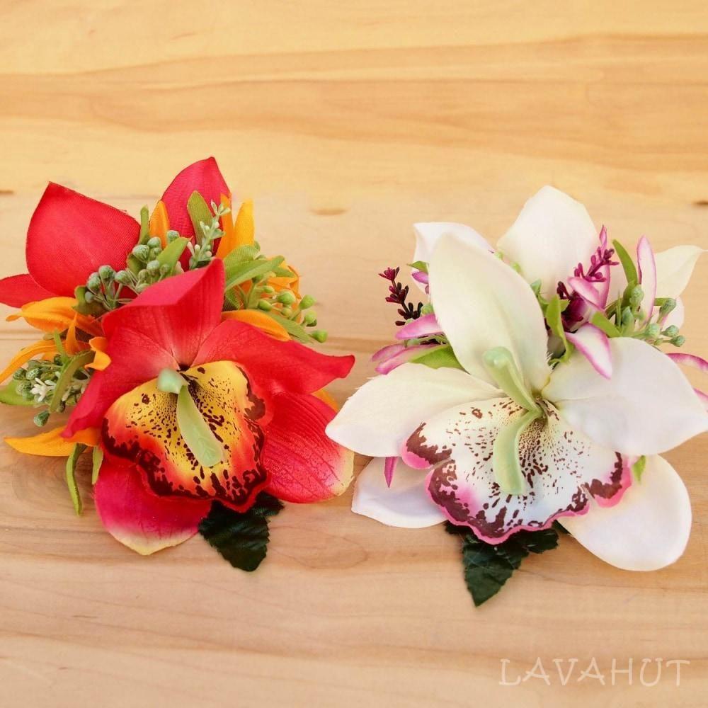 Queen Orchid Red Hawaiian Flower Hair Clip Hawaiian Flower Hair Hawaiian Flowers Flowers In Hair