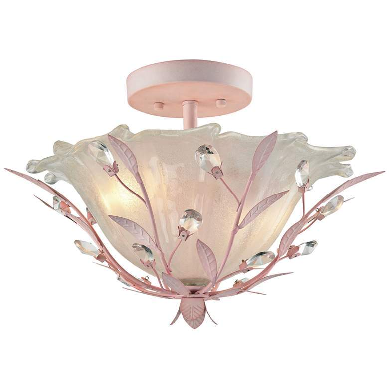 "ELK 17"" Wide Light Pink 2Light Ceiling Light 195 + AN"