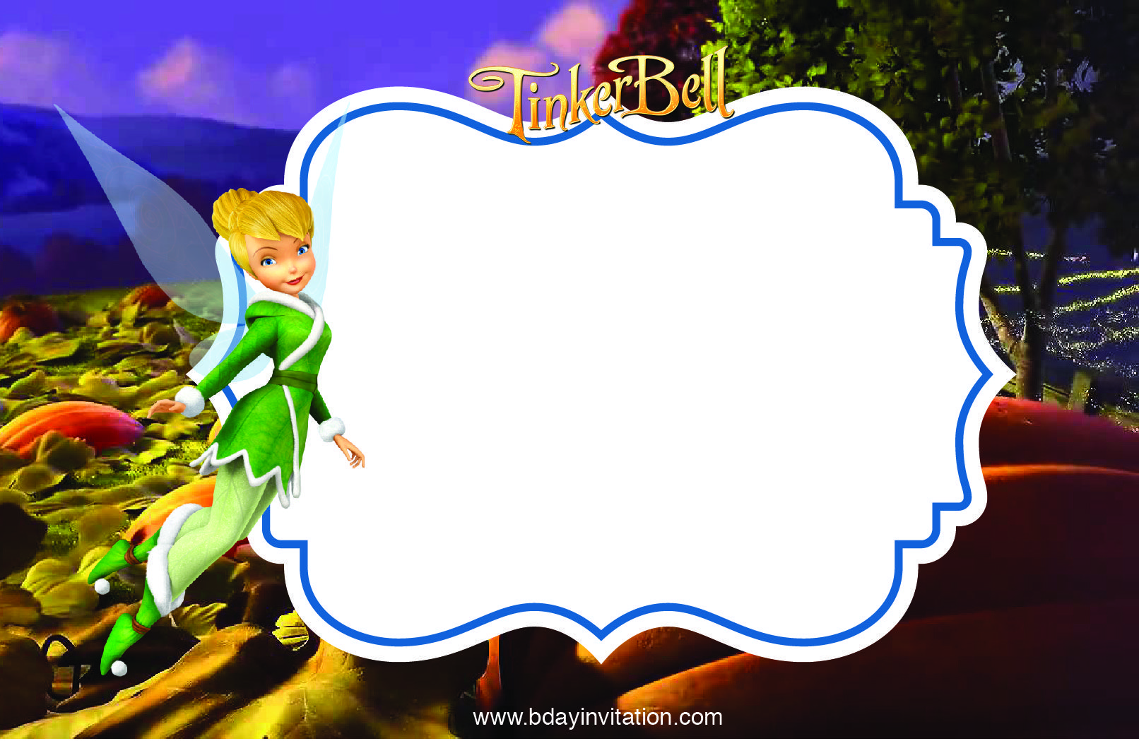 Awesome FREE Printable Disney Tinkerbell Birthday Invitation Template