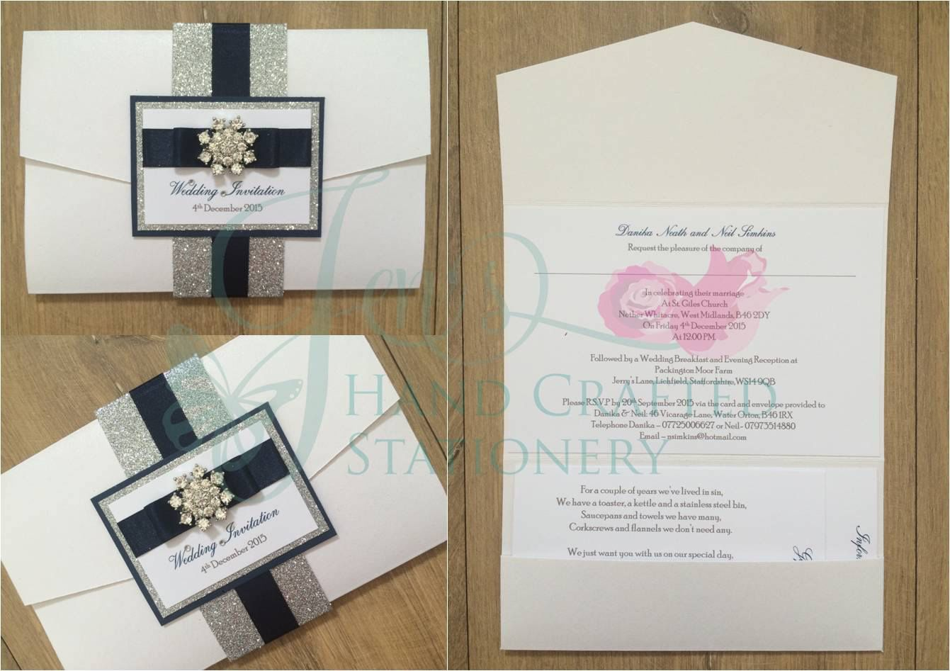 Silver Glitter Belly Band Pocket Fold Wedding Invitation With Navy Ribbon And Diamante Snow Stationery Craft Pocket Fold Wedding Invitations Wedding Stationery