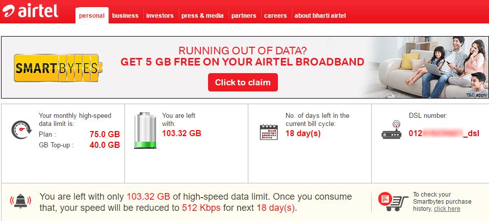 How To Easily Check Airtel Broadband Internet Data Usage Airtel Smartbytes Airtel Broadband Broadband Broadband Internet