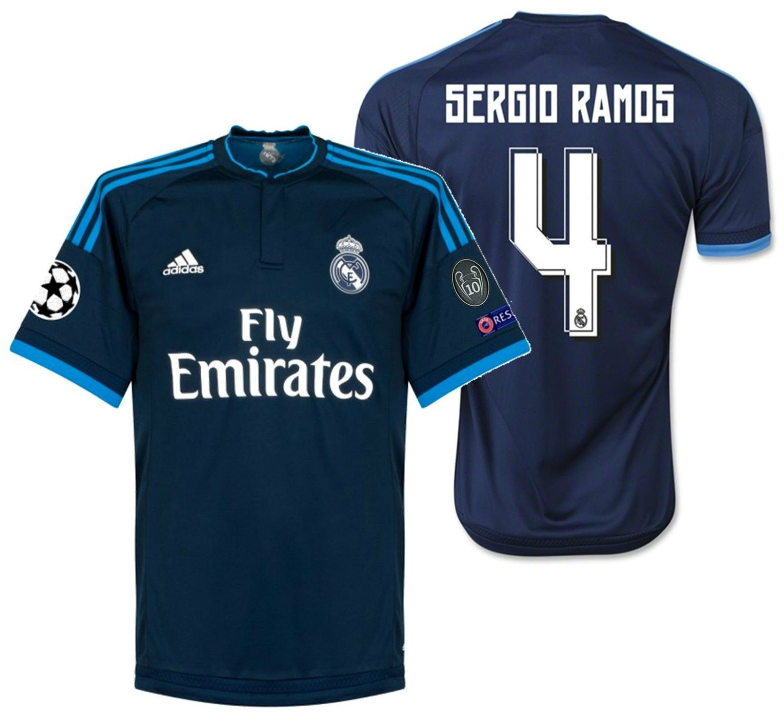 Adidas Sergio Ramos Real Madrid Uefa Champions League Third Jersey 2015 16 Sergio Ramos Uefa Champions League Real Madrid