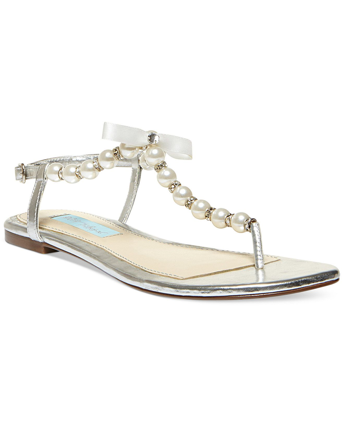 Flat rhinestone sandals for wedding - Blue By Betsey Johnson Pearl Flat Thong Sandals Evening Bridal Shoes Macy S
