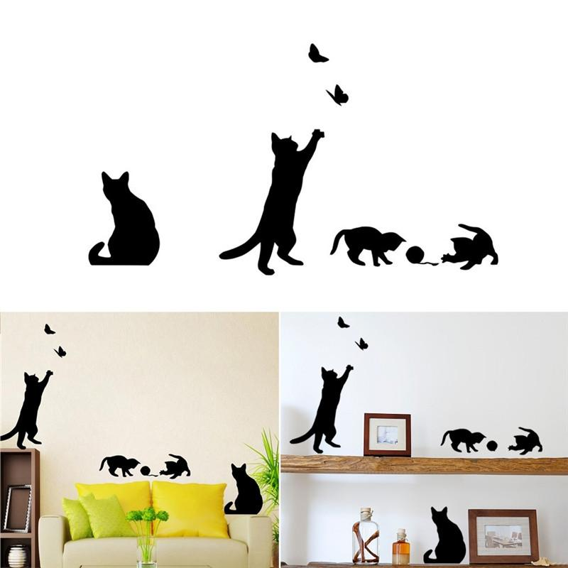 Cat Wall Sticker Removable Art Murals Wall Decals For Bedroom