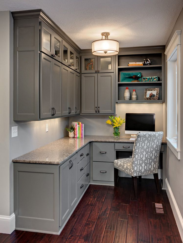 corner built in desk home office traditional with gray cabinets