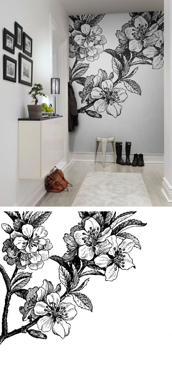 30 Creative And Simple Wall Paintings Ideas Can Improve Your Mood Fielderman Com Black And White Wallpaper Wall Wallpaper Wall Murals