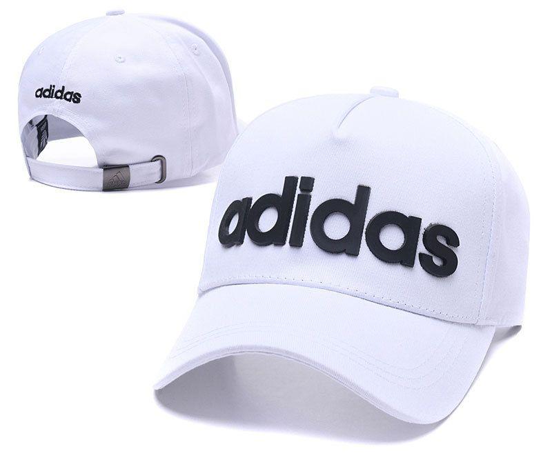Men s   Women s Adidas BIC Rubber Logo A-Frame Curved Dad Cap - White cea740db292