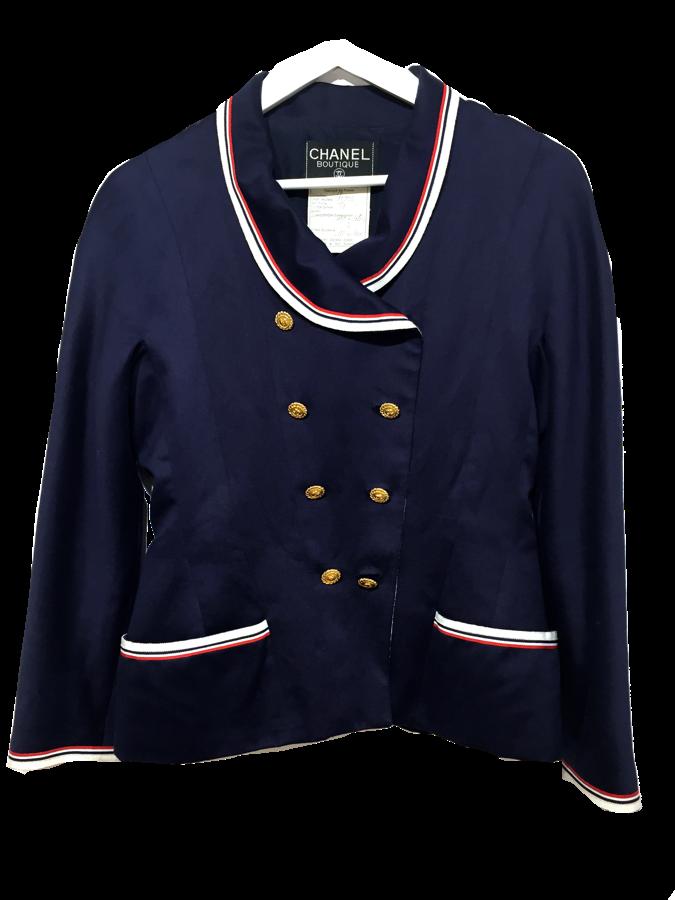 Chaqueta CHANEL en algodón azul marino con bordes de grograin en rojo y  blanco. Cierre 61e93ed7253c9