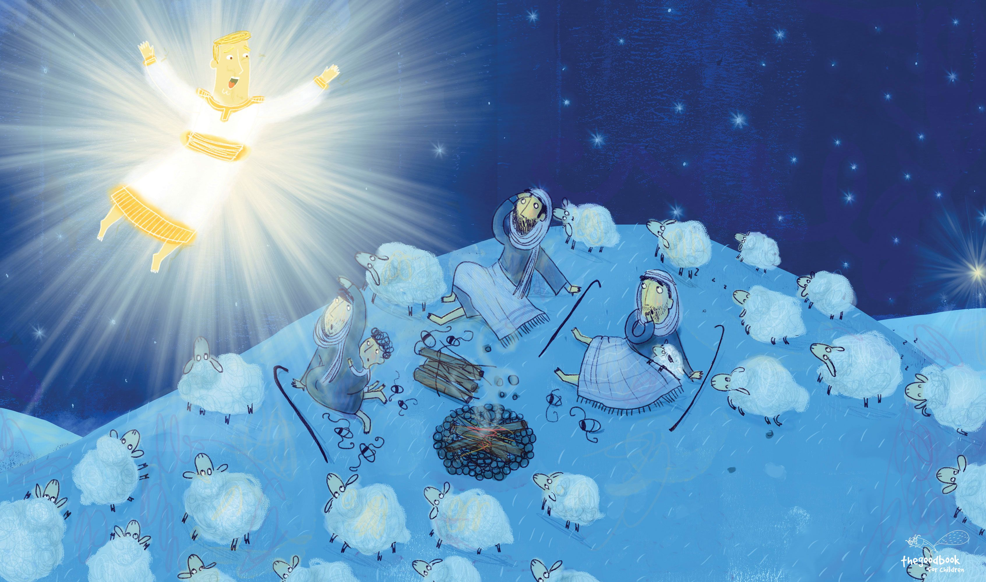 """""""An angel of the Lord appeared to them, and the glory of the Lord shone around them, and they were terrified."""" (Luke 2:9). Stunning illustration showing the angel Gabriel appearing the the shepherds, from The Christmas Promise by Catalina Echeverri and Alison Mitchell. You can download illustrations to use to tell the story in your church free from our website."""