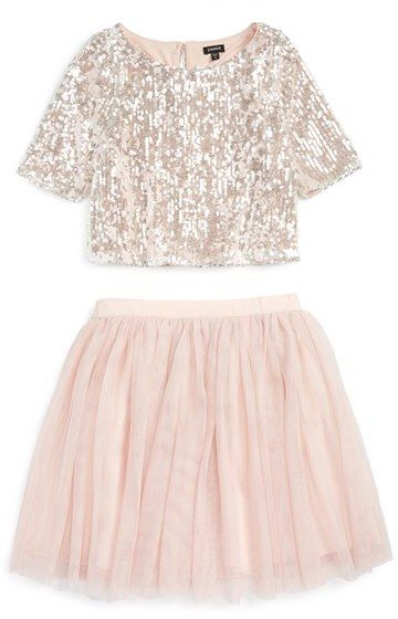 e4a41a768d26 Zunie Sequin  Meet   Greet  Top   Tulle Skirt Set (Big Girls)   such a  beautiful look for a little girl. Princess style. Baby pink colors