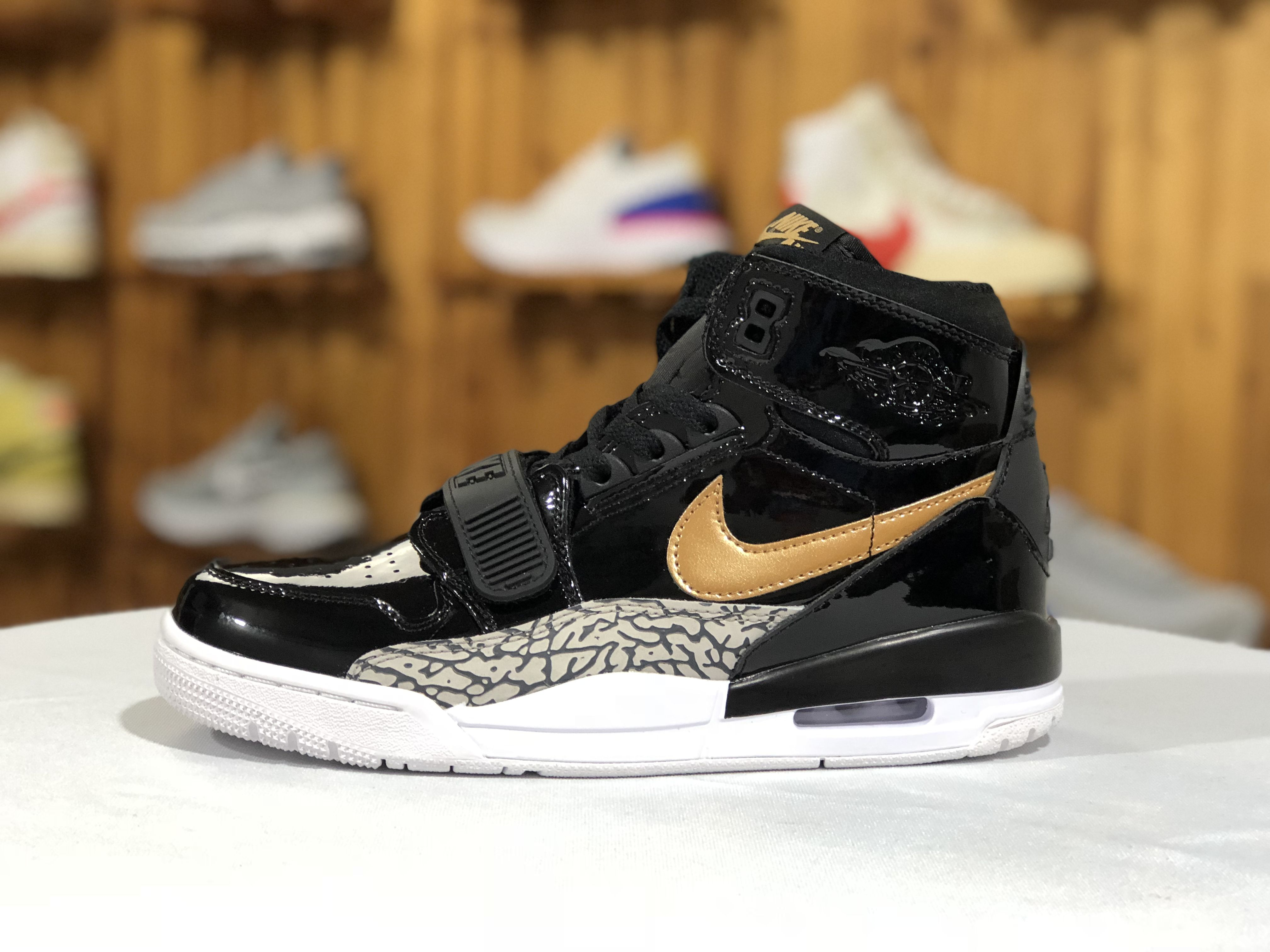 d28bbd0fc55c Jordan Legacy 312 Black Gold Patent Leather Basketball Shoes ...