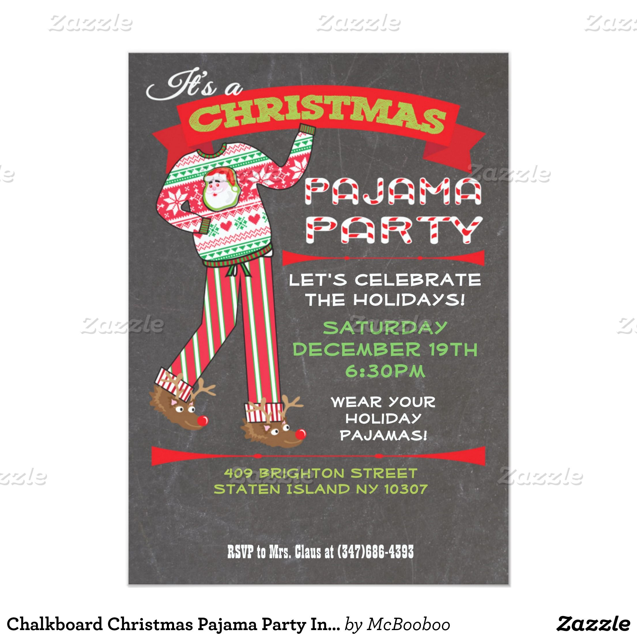 Chalkboard Christmas Pajama Party Invitations | Christmas pajama ...