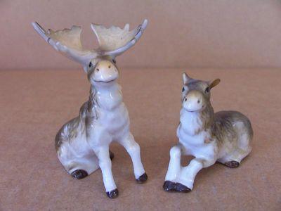 Vtg Salt Pepper Shakers Miniature Bone China Wild Moose Wildlife Animals Zoo |