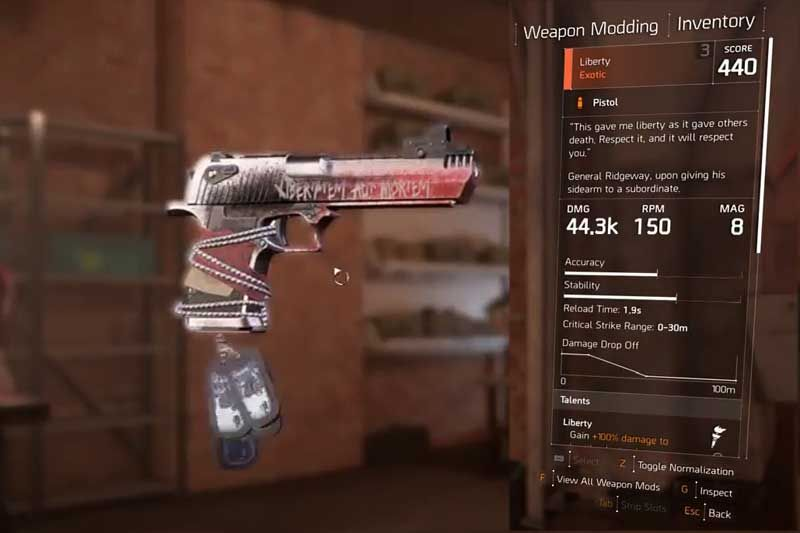 Division 2 Liberty Pistol Guide & How Craft Exotic Pistol