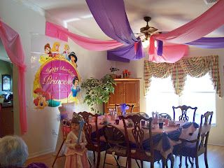 The tent effect was made with $1 plastic tablecloths cut in half lengthwise and tacked to the ceiling. It gives the room a dramatic look for very little money. Use the same technique to make swags over the doors and archways.