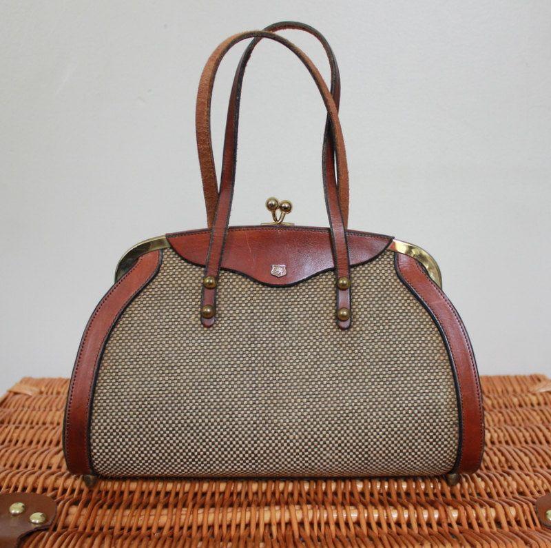 1960s tweed Purse. Brown Leather Purse. Tweed and Leather. Vintage Handbag. Mad men. John romain. $68.00, via Etsy.