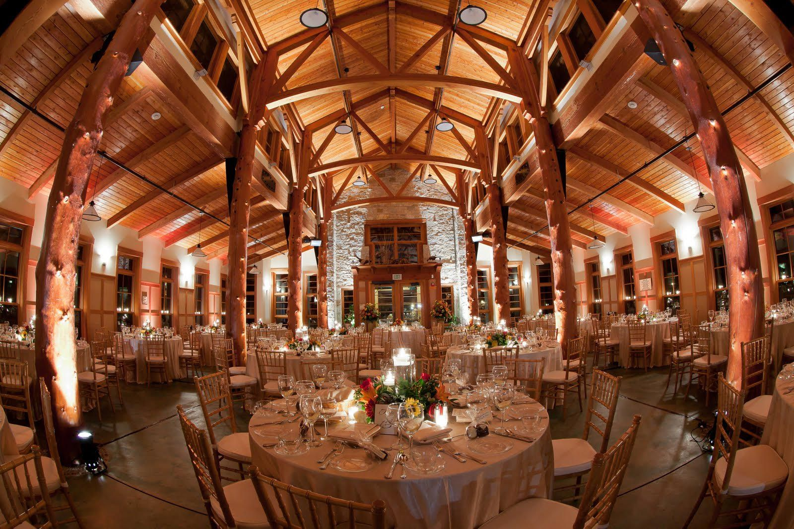 Wooded Wisconsin Wedding Great Hall Is Reminiscent Of A North Woods Lodge With Soaring Two