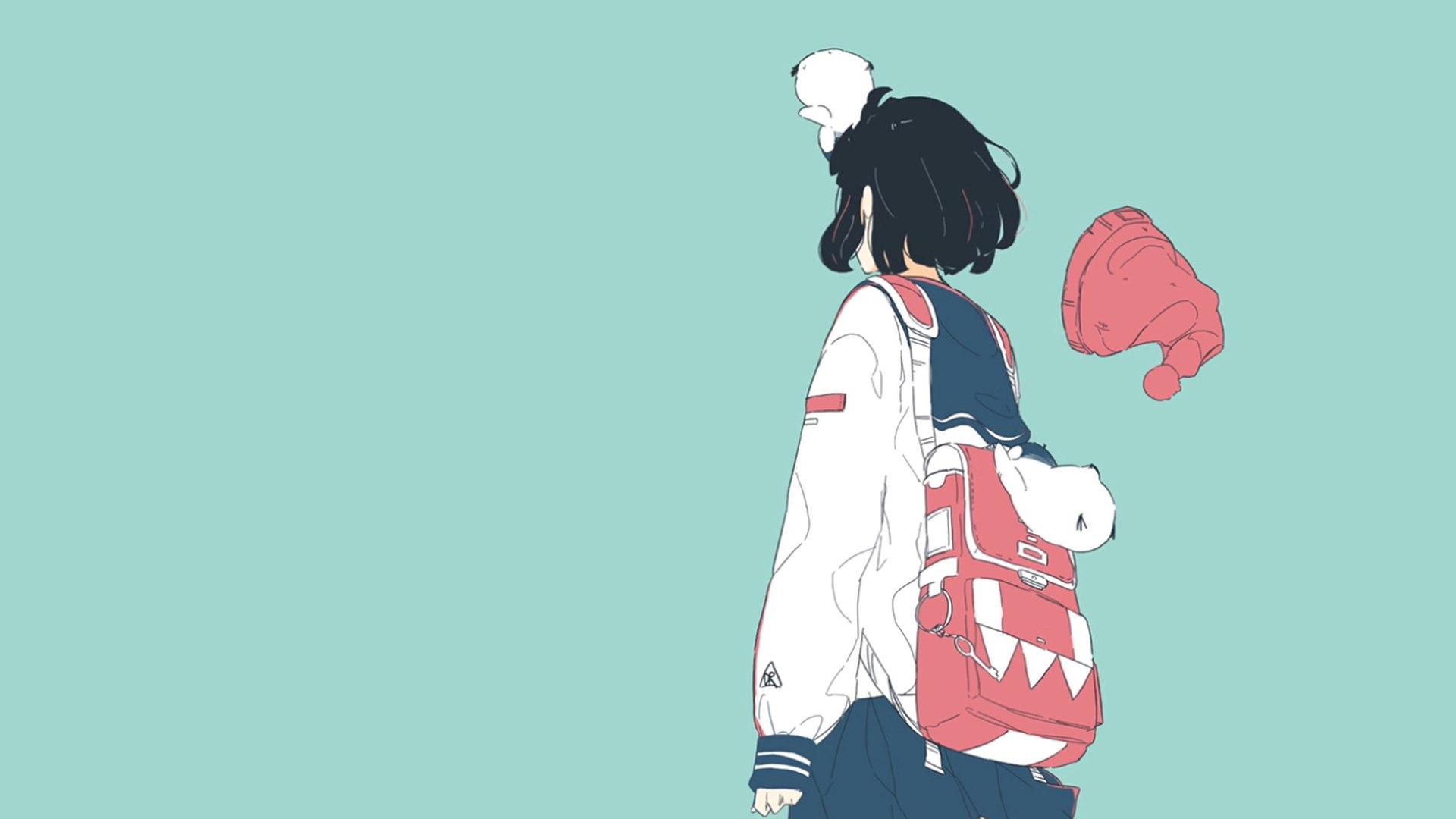 动漫1920x1080动漫漫画动漫女孩绿松石绿松石背景简单背景水手制服 Wallpaper, Anime art
