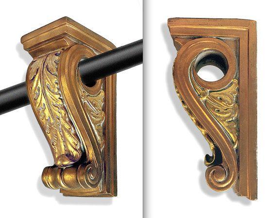 Decorative Curtain Rod Holders 2 Corbel Brackets And