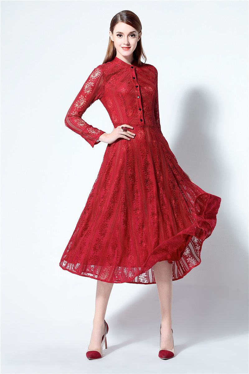Red lace dress plus size  Vestido Women Dress  New Summer Dress Plus Size Women Clothing
