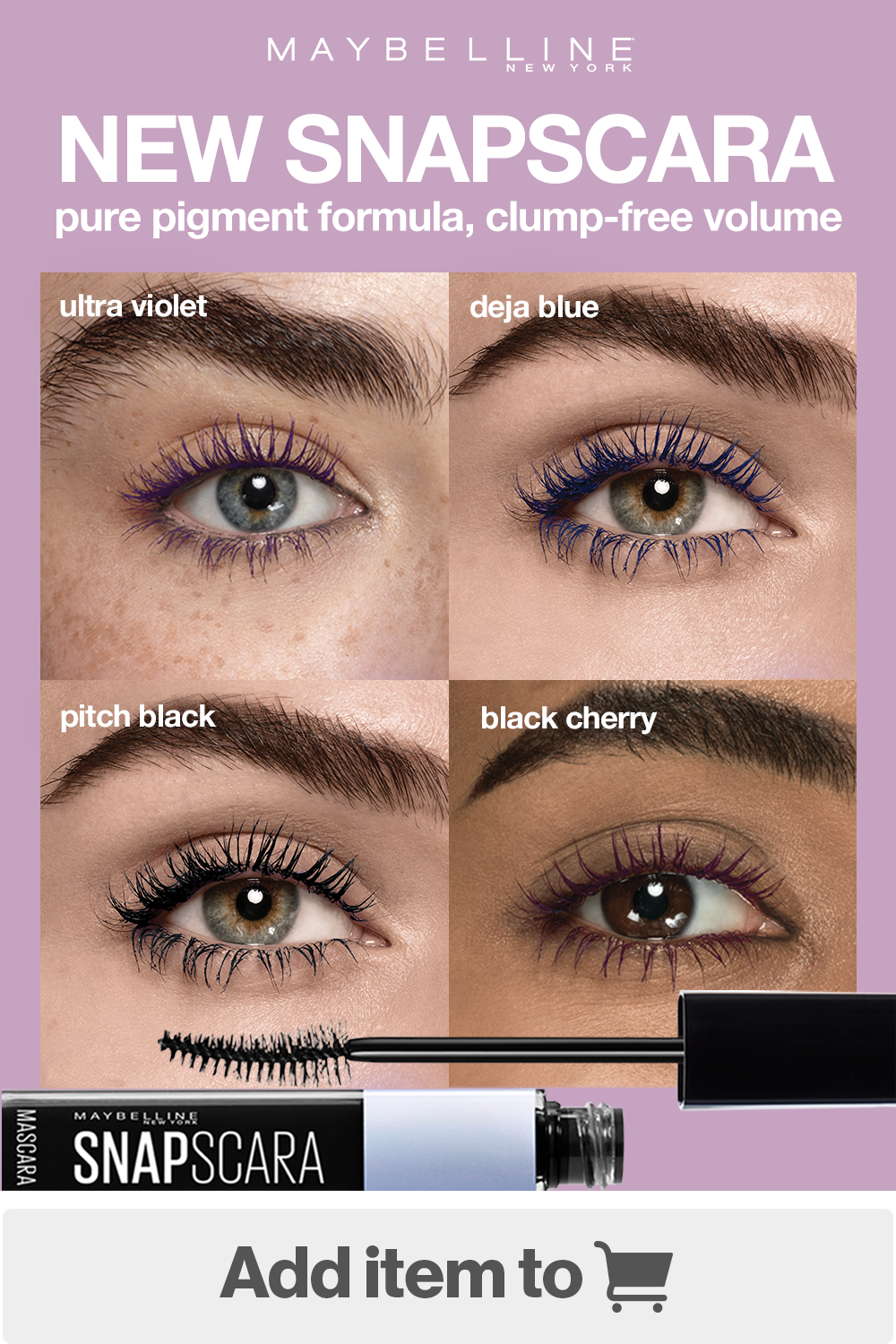 ea1ca625f00 From 'ultra violet' and 'deja blue' to 'black cherry' and 'pitch black',  make your lashes pop in an eye-catching color with Snapscara Mascara!