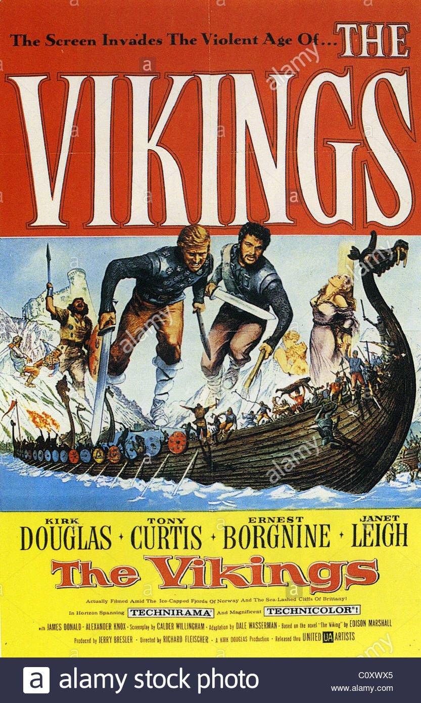 THE VIKINGS Poster for 1958 MGM film with Kirk Douglas and