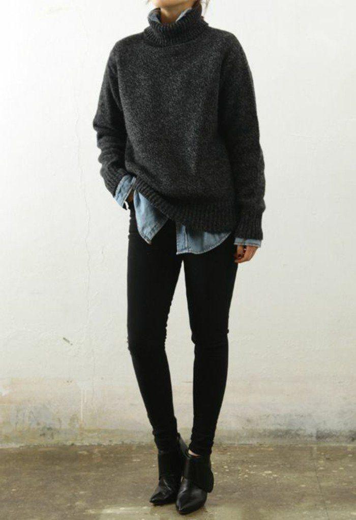 une combinaison tr s chic large chemise en jean et pull en laine col roul slim noir et. Black Bedroom Furniture Sets. Home Design Ideas