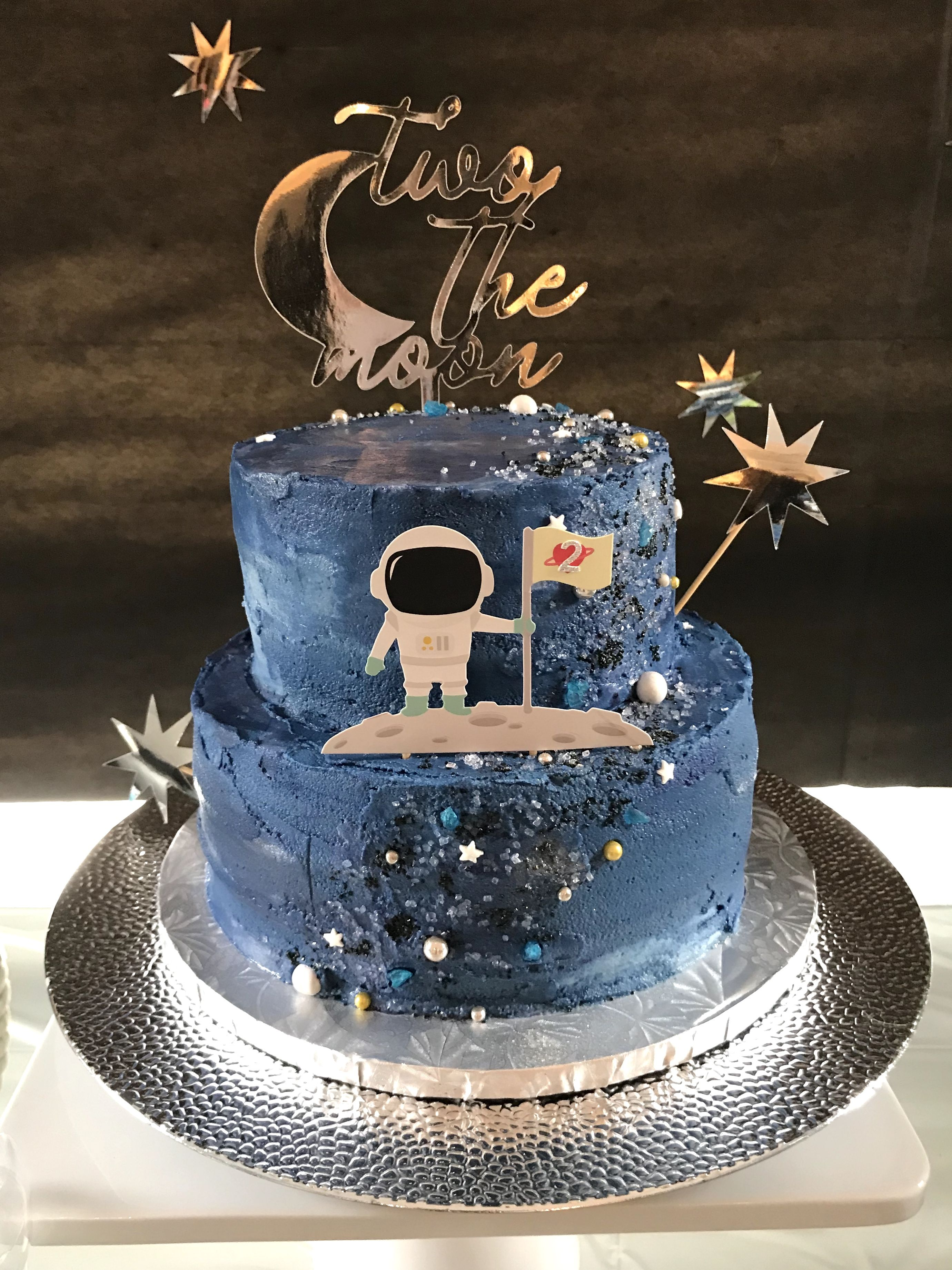 Stupendous Two The Moon Birthday Party Space Galaxy Cake With Cake Toppers Personalised Birthday Cards Cominlily Jamesorg
