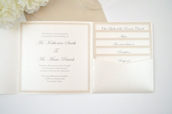 Romantic Wedding Invitation, Pocketfold Wedding Invitation, Taupe