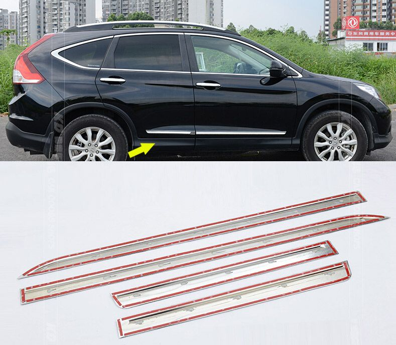 Hot Sale Fit For Crv Cr V 2012 2013 2014 2015 Chrome Side Door Body Molding Trim Cover Line Garnish Prote Body Molding Moldings And Trim Interior Accessories