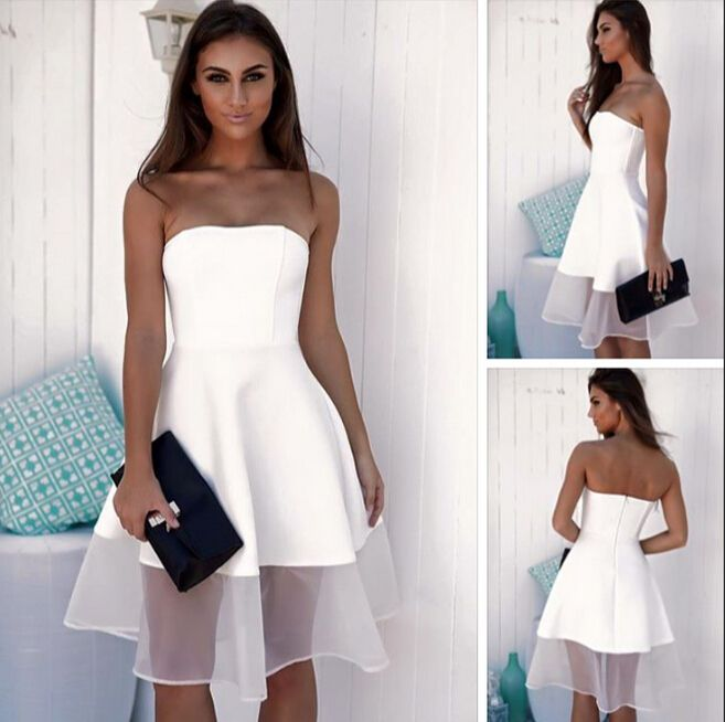 White Strapless Short Party Dress A line Cute Prom Dress Homecoming ...