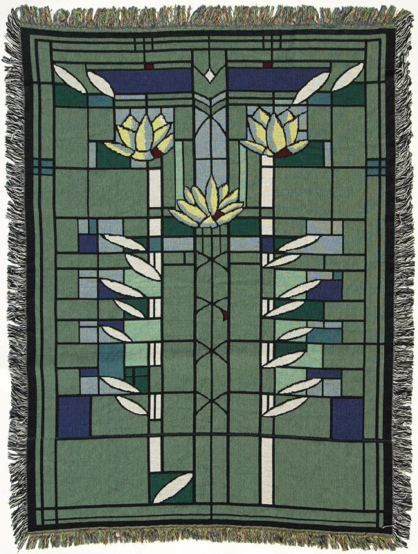 Frank Lloyd Wright Waterlilies Throw Blanket Blankets