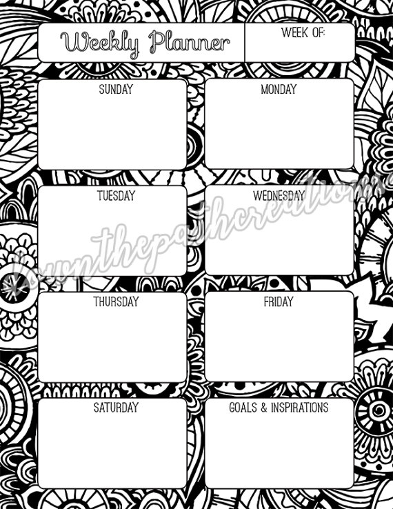 Adult Coloring Weekly Planner Printable Pages, Instant ...