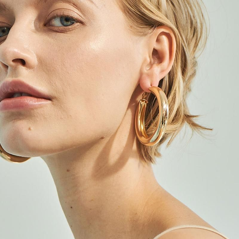 c8627d478b038c Camille Chunky Hoop Earrings in 2019 | Our Products | Big gold hoop ...