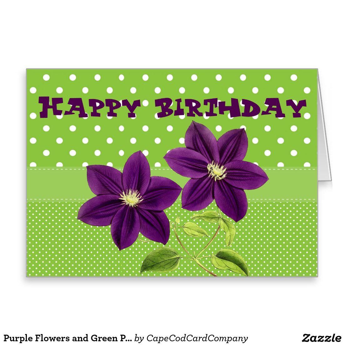 Purple flowers and green polka dot birthday card floral birthday purple flowers and green polka dot birthday card izmirmasajfo