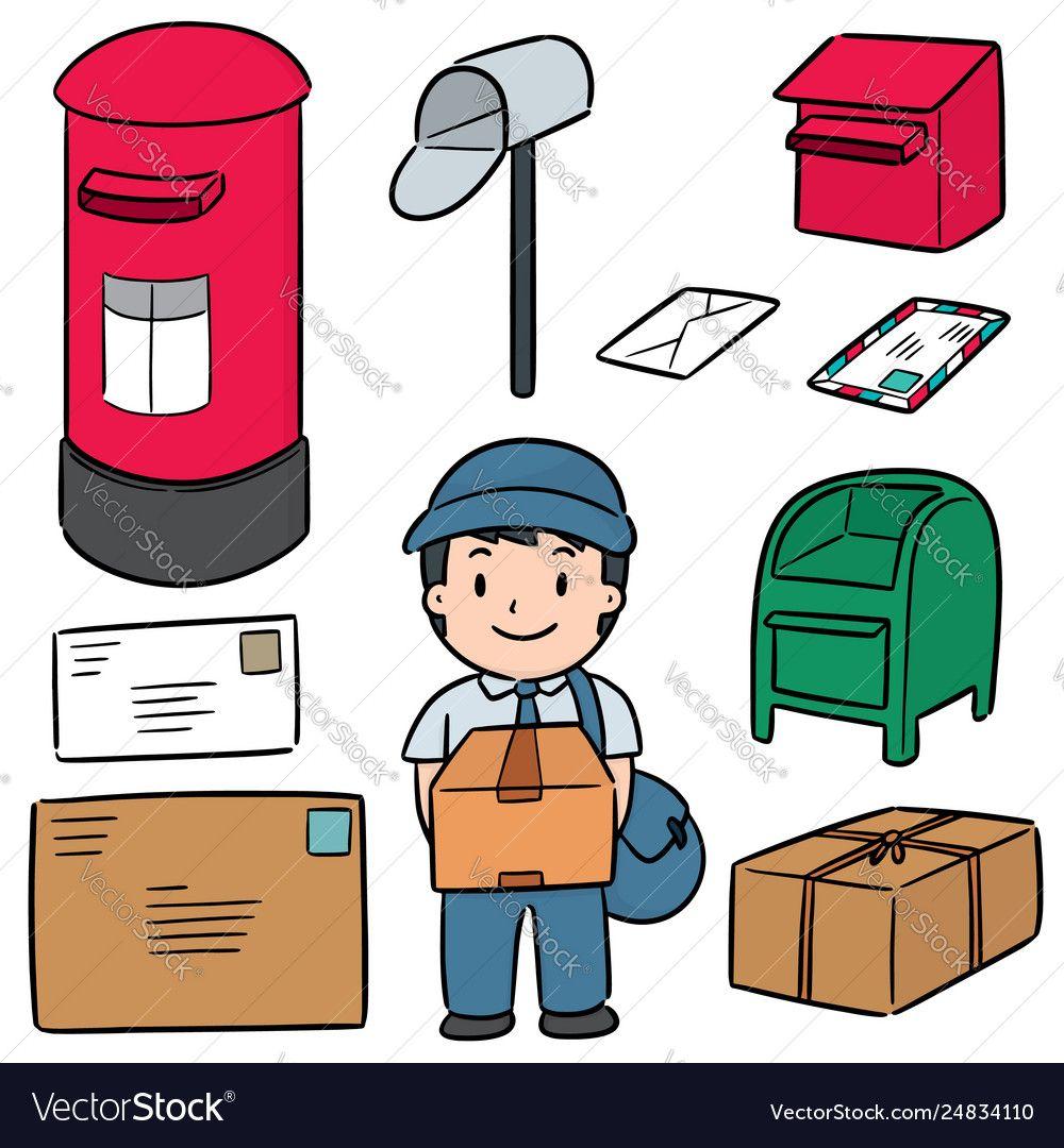 Set postman and postbox vector image on (มีรูปภาพ) ภาพประกอบ