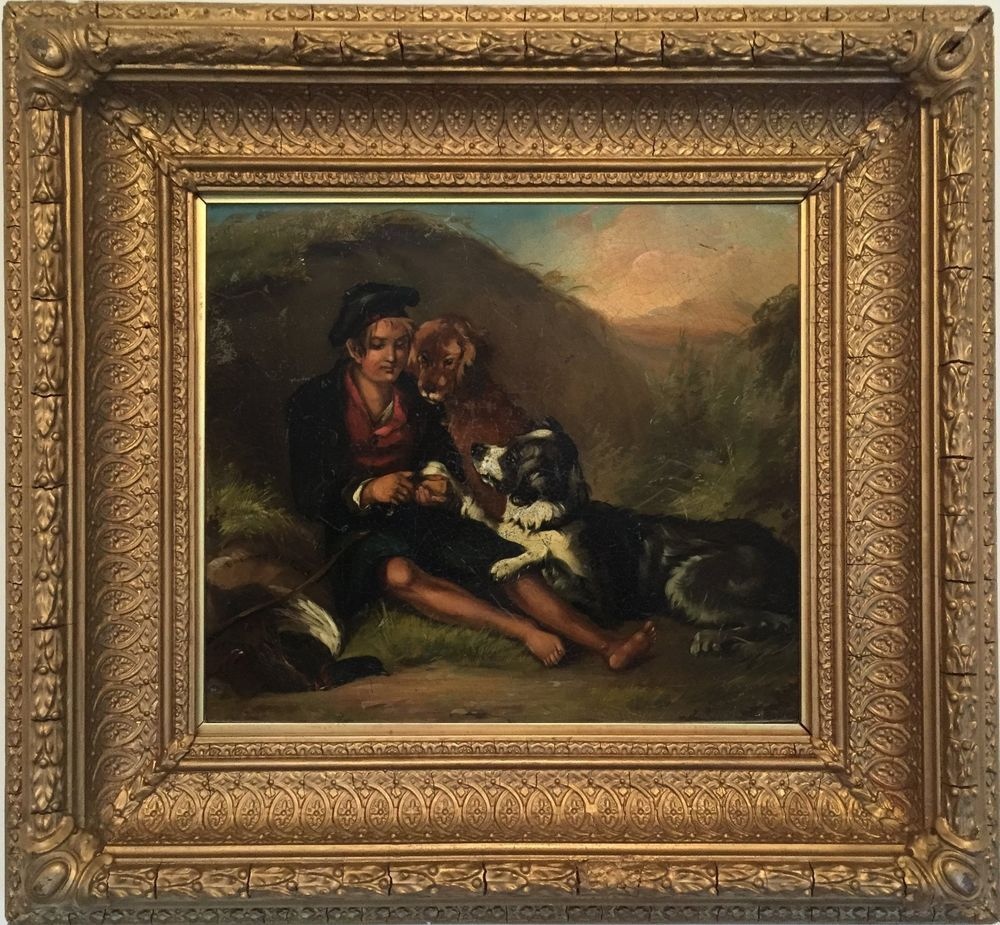 Boy with Dogs and Game in a Landscape Oil Painting 19th Century British School #Realism