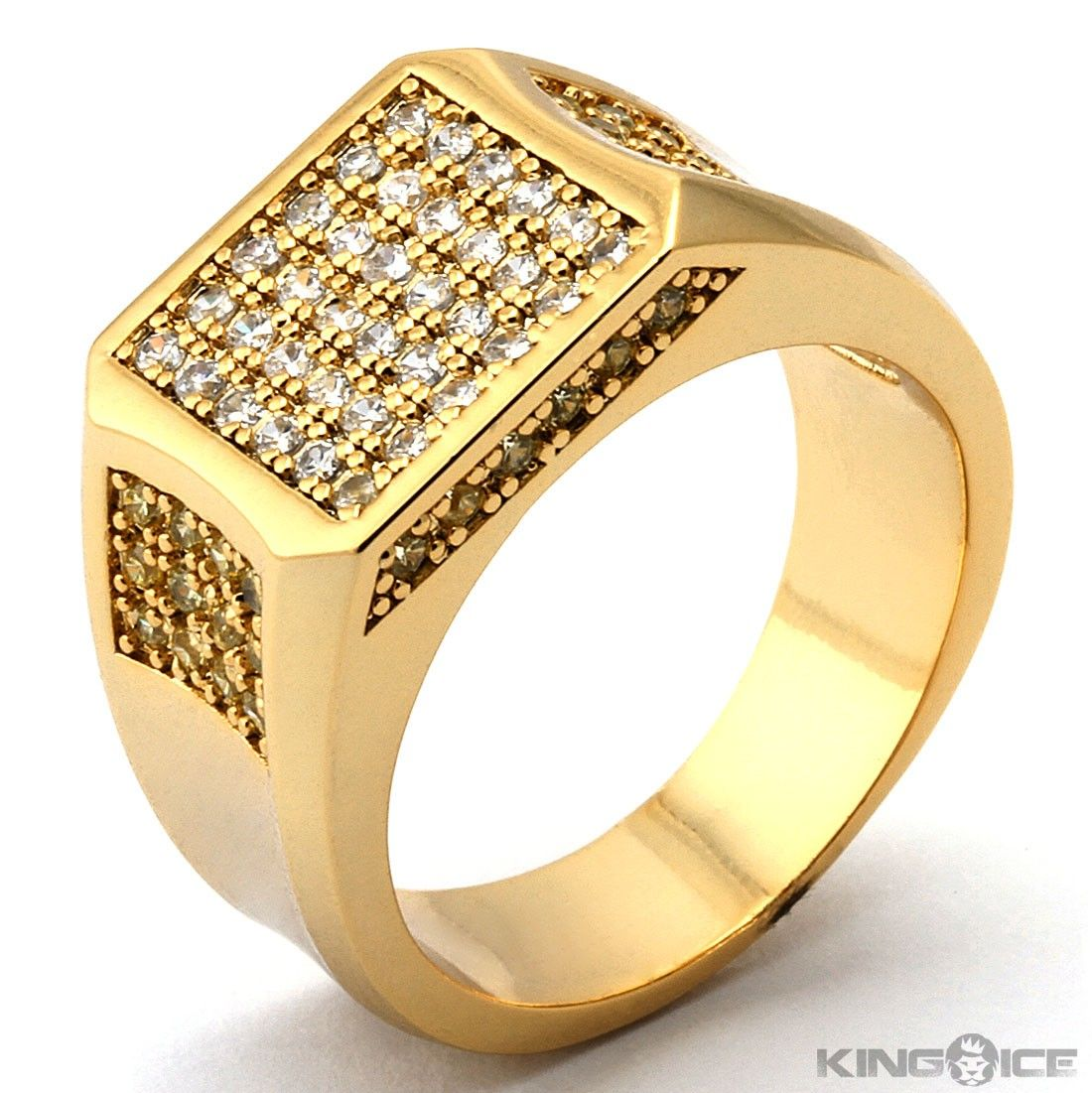 Gold Ring For Men Design King ice mens yellow gold | His ...