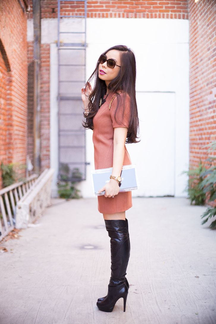 Dress and black boots