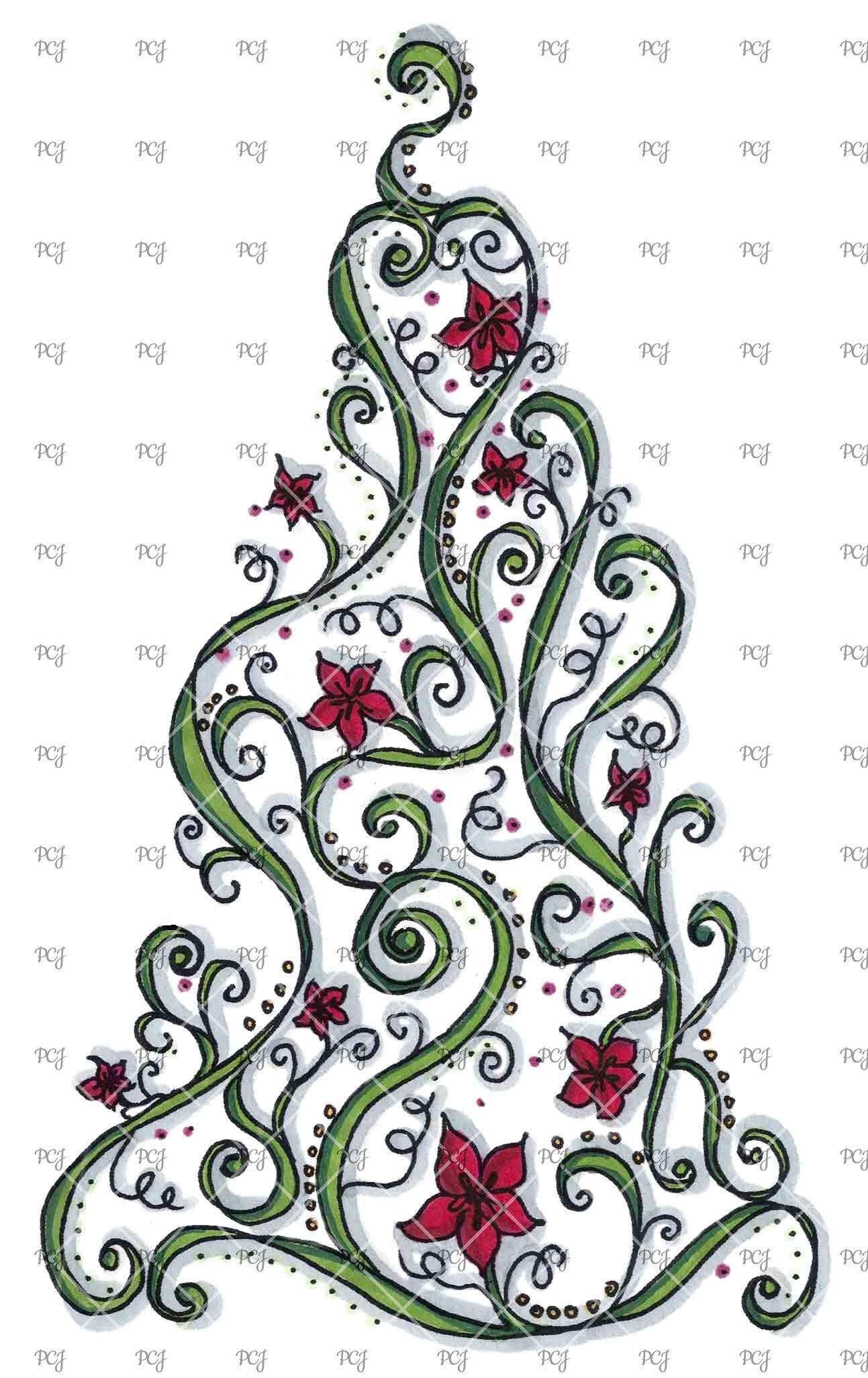 Doodle Christmas Tree C Christmas Crafts Pinterest