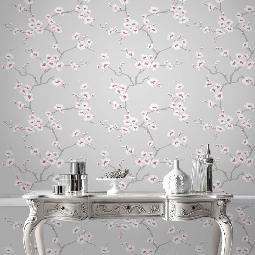 Fresco Apple Blossom Grey And Pink Wallpaper Hallway Wallp