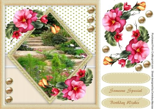 A lovely card with Steps in the garden  has 4 greeting tags and a blank one
