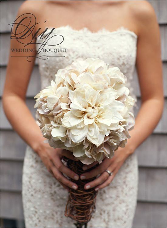 Diy Hydrangea And Mum Bouquet White Wedding Bouquets Diy