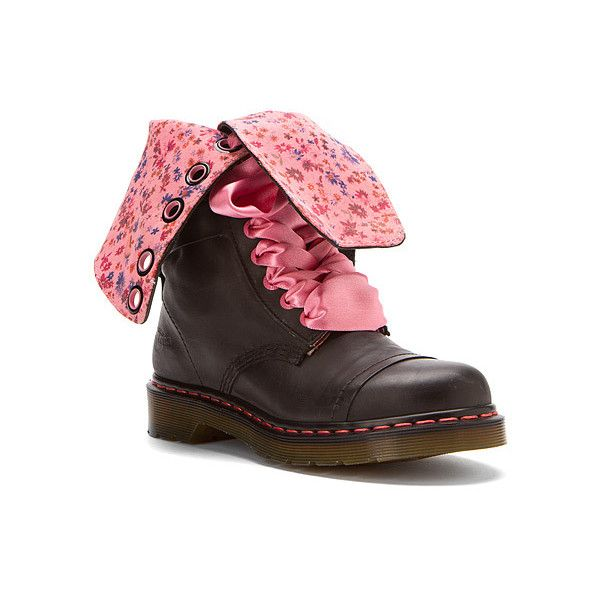 56a33a50edb Dr. Martens Triumph 1914 14 Eye Floral Print Mid-Calf Boot ( 120) ❤ liked  on Polyvore featuring shoes