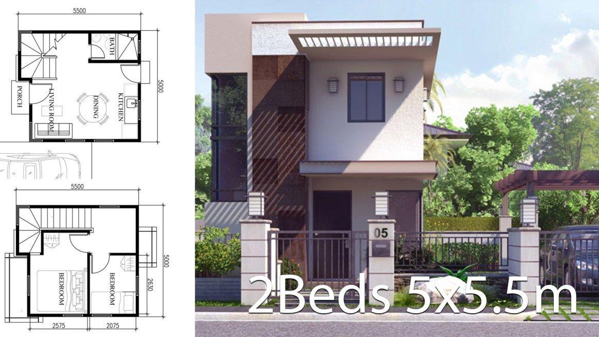 Small Home Design Plan 5x5 5m With 2 Bedrooms Plan Maison Maison Plain Pied Maison