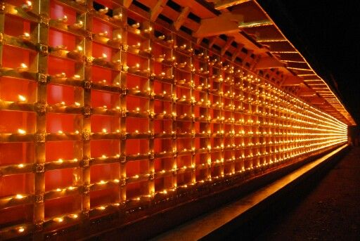 Kerala Temple Wall Of Liquid Lamps That You Can Light On A