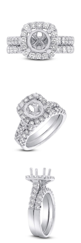 Sets without Stones 177019: 14K White Gold Semi Mount Diamond Cushion Halo Engagement Bridal Wedding Ring -> BUY IT NOW ONLY: $2200 on eBay!