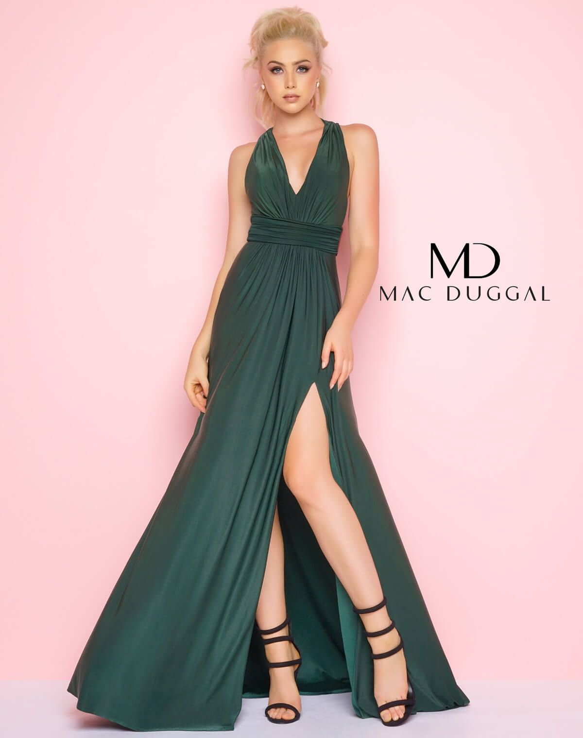 Stretch crepe jersey floor length aline gown with plunging